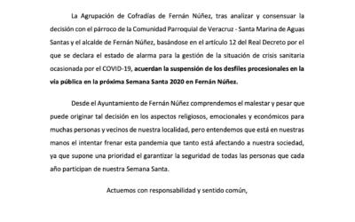 Comunicado Oficial: Ayuntamiento, Agrupación de Cofradías y Comunidad Parroquial acuerdan suspender la celebración de procesiones durante la Semana Santa 2020 en Fernán Núñez