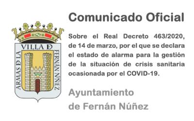 Comunicado Oficial del Ayuntamiento de Fernán Núñez sobre la declaración del estado de alarma por el Consejo de Ministros