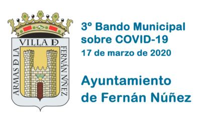 3º Bando Municipal del Ayuntamiento de Fernán Núñez sobre COVID-19