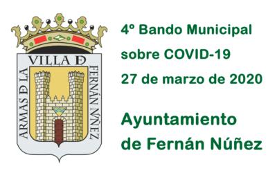 4º Bando Municipal del Ayuntamiento de Fernán Núñez sobre COVID-19