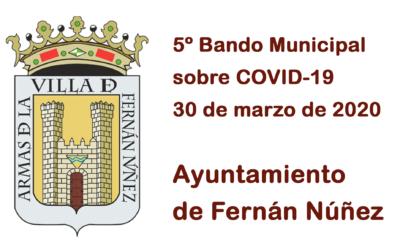 5º Bando Municipal del Ayuntamiento de Fernán Núñez sobre COVID-19