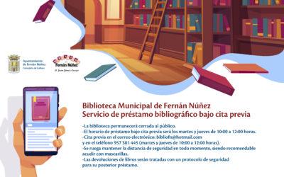 La Biblioteca Municipal de Fernán Núñez restablece el servicio de préstamo bibliográfico, bajo cita previa