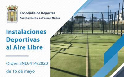 La Concejalía de Deportes informa de la reapertura de Instalaciones Deportivas al Aire Libre (Pistas de tenis, pádel y atletismo)