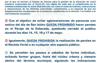 Comunicado del Ayuntamiento de Fernán Núñez y Policía Local con motivo del día de San Isidro