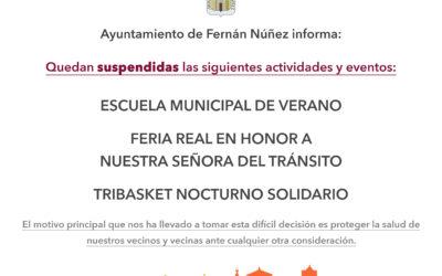 Información sobre los eventos cancelados en el mes de agosto en Fernán Núñez