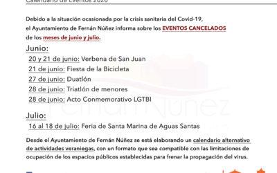 Información sobre los eventos cancelados en Fernán Núñez en los meses de junio y julio