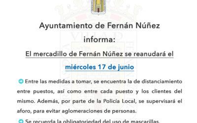 Reanudación mercadillo de Fernán Núñez el próximo miércoles 17 de junio