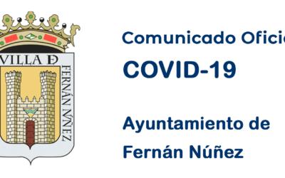 Comunicado Oficial del Ayuntamiento de Fernán Núñez con fecha 21 de agosto de 2020 sobre COVID-19