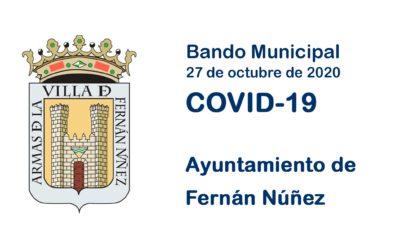 Bando Municipal 27 de octubre de 2020 sobre COVID-19