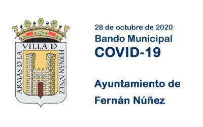 Bando Municipal 28 de octubre de 2020 sobre COVID-19