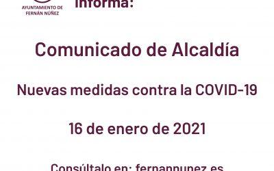 Comunicado de Alcaldía sobre las nuevas medidas contra la COVID-19, a fecha 16 de enero de 2021