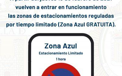Se reactiva la Zona Azul Gratuita a partir del jueves 18 de febrero