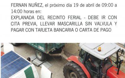 Visita ITV Móvil Agrícola a Fernán Núñez el 19 de abril de 2021