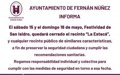 """Cierre de """"La Estacá"""" y recintos similares el sábado 15 y domingo 16 de mayo, festividad de """"San Isidro"""""""