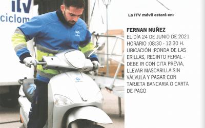 Visita ITV Móvil Ciclomotores a Fernán Núñez el 24 de junio de 2021