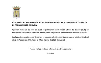 Selección de Personal de Limpieza de Edificios Públicos Ayuntamiento de Fernán Núñez