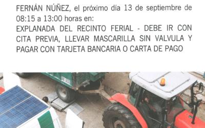 Visita ITV para vehículos agrícolas a Fernán Núñez el 13 de septiembre de 2021