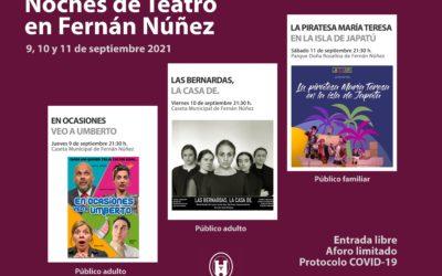 Noches de Teatro en Fernán Núñez, 9, 10 y 11 de septiembre