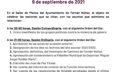 Pleno 9 de septiembre de 2021 Ayuntamiento de Fernán Núñez